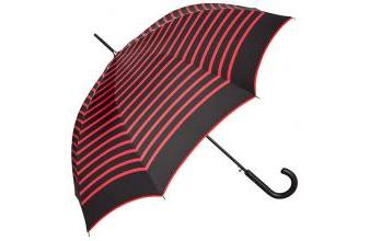 Jean Paul Gaultier womens umbrella in navy look black with red stripes