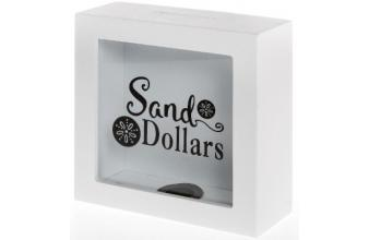 Casa Padrino Money Box Sand Dollars White / Black 15 x 6 x H. 15 cm