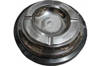 Round Luxury Ashtray Made of Stainless Steel and Marble Silver / Black Ø 30 x H. 8 cm - Luxury Quality